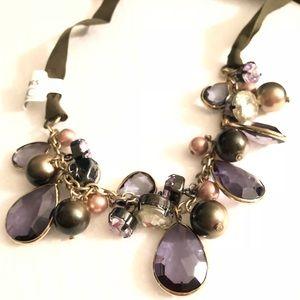 Ann Taylor mixed crystals & ribbon 🎀 bib necklace